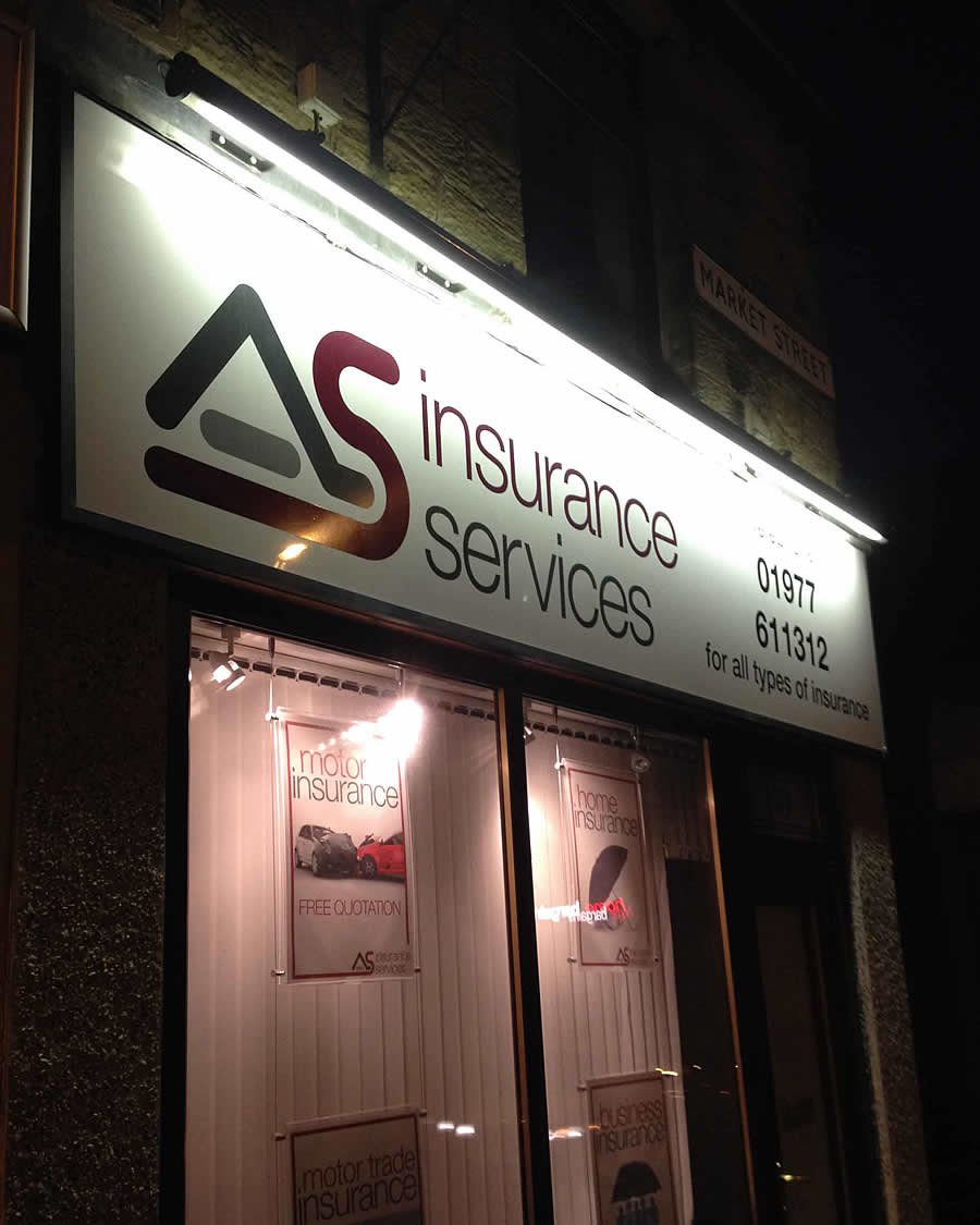 Illuminated Sign, Wakefield, AS Insurance Services