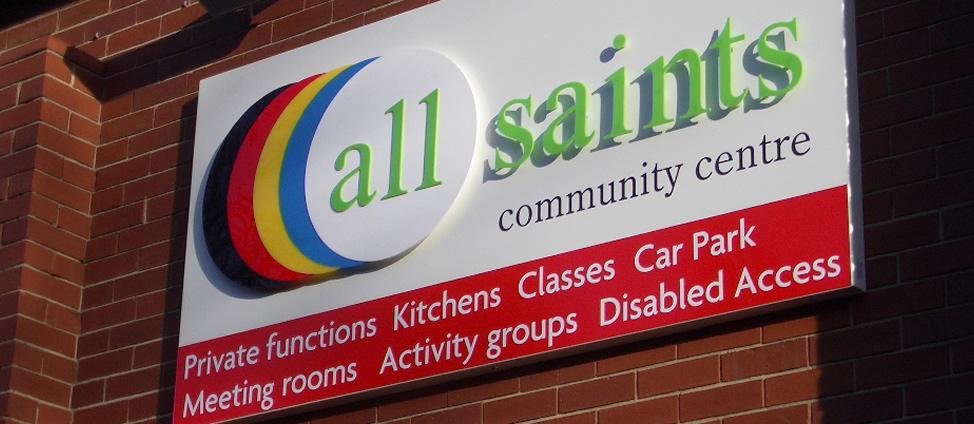 Signline Yorkshire, Cut Out 3D Signage Slider, All Saints Community Centre